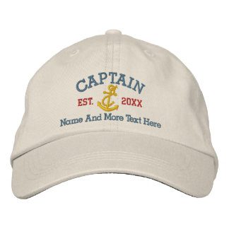 Captain With Anchor Personalized Embroidered Cap