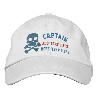Captain With Skull And Cross Bones customizable Embroidered Hats