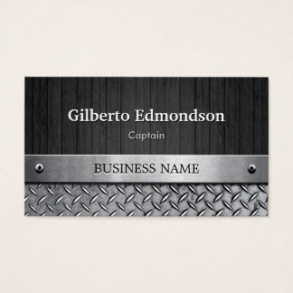 Captain - Wood and Metal Look Business Card