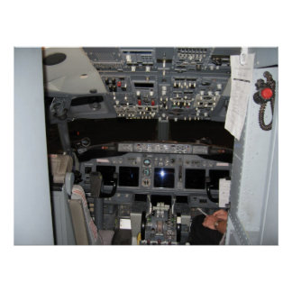 Captain's Cockpit Commercial Jet Aircraft Poster