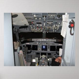 Captain's Cockpit Commercial Jet Aircraft Poster