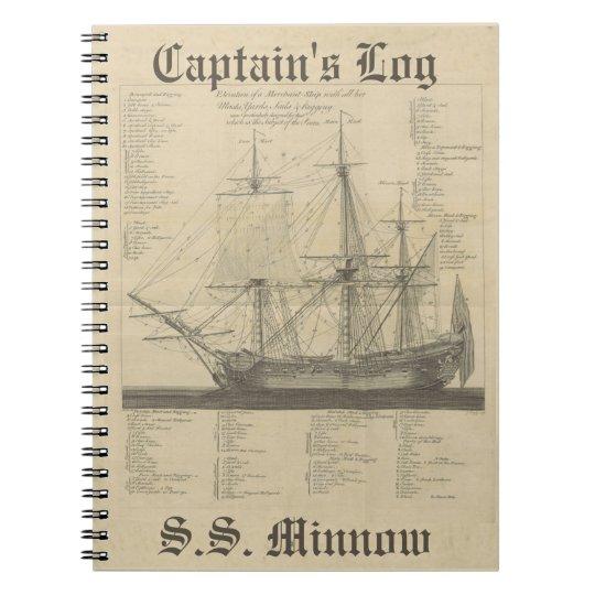 Captains Log Ship Illustration Notebook