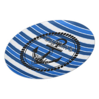 Captain's-Table-Stripes-Anchor-Silver-Blue(c) II Plate