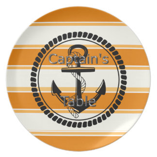 Captain's-Table-Stripes-Anchor-Silver-Orange(c) Plate