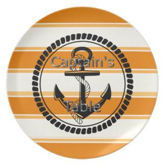 Captain's-Table-Stripes-Anchor-Silver-Orange(c) Plates