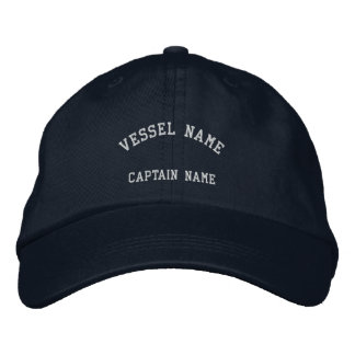 Captains Vessel Embroidered Cap Navy Embroidered Hats