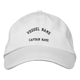 Captains Vessel Embroidered Cap White Embroidered Hat