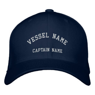Captains Vessel Embroidered Wool Cap Navy Embroidered Baseball Cap