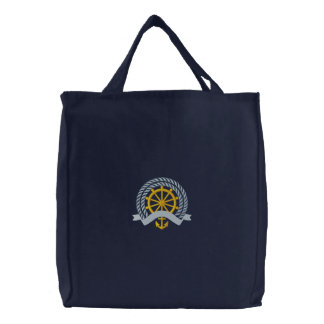 Captain's Wheel Embroidered Tote Bags