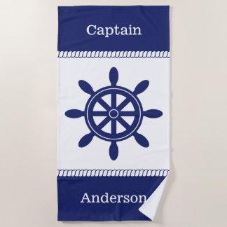 Captain's Wheel Nautical Rope Add Name Beach Towel