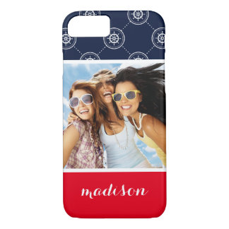 Captain'S Wheel Pattern | Your Photo & Name iPhone 8/7 Case