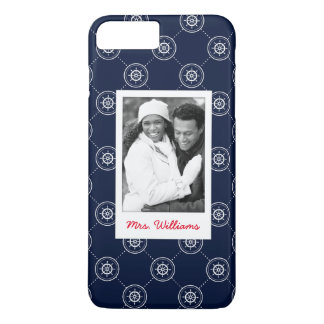Captain'S Wheel Pattern | Your Photo & Name iPhone 8 Plus/7 Plus Case