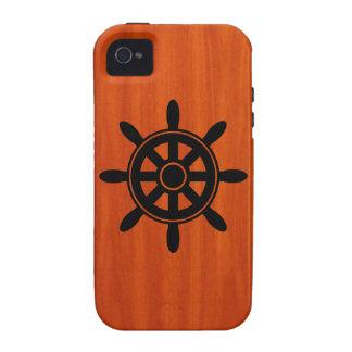 Captains Wheel Wood Grain iPhone 4 Case
