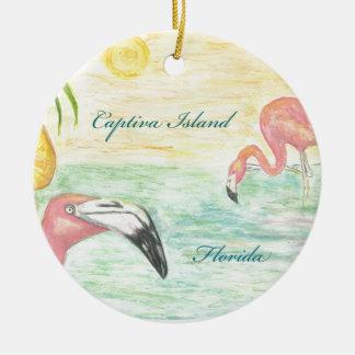 Captiva Island Flamingos Florida Art Christmas Ornament