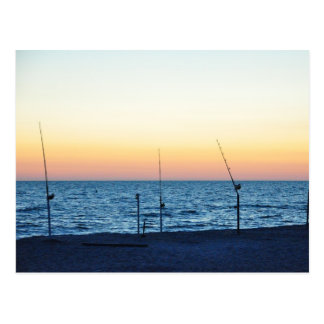 Captiva Island Sunset Fishing Poles Sand Postcard