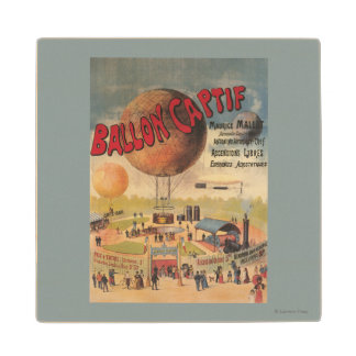 Captive Balloon Rides at a Exposition Poster Wood Coaster