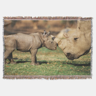 Captive Southern White Rhino with young Throw Blanket
