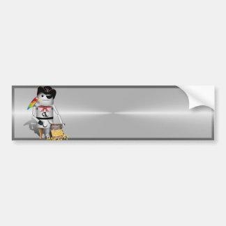 Capt'n Robo-x9 - Metal Background Bumper Stickers