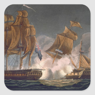 Capture of La Tribune, June 8th 1796, engraved by Square Sticker