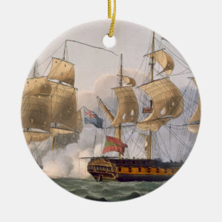 Capture of the Liguria, August 7th 1798, engraved Round Ceramic Decoration