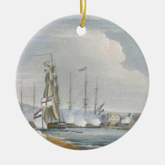 Capture of the port of Curacoa, Dutch East Indies, Christmas Ornament