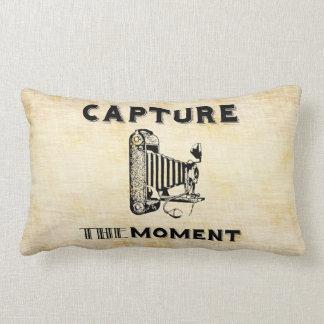Capture the Moment Vintage Camera Photographer Lumbar Cushion