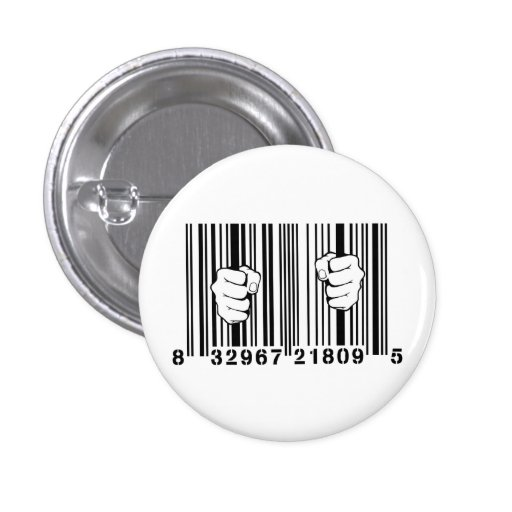 Captured By Consumerism UPC Barcode Prison Pins