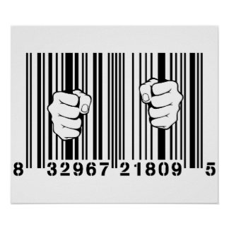 Captured By Consumerism UPC Barcode Prison Poster