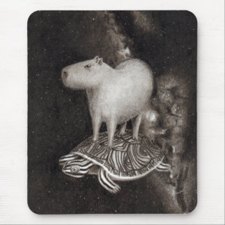 Capybara and Terrapin flying through space drawing Mouse Mat
