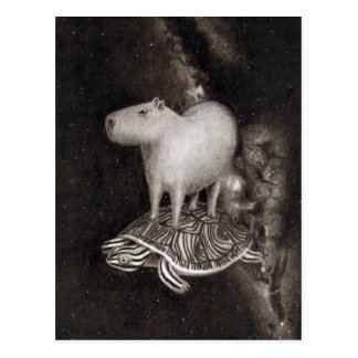 Capybara and Terrapin flying through space drawing Postcard