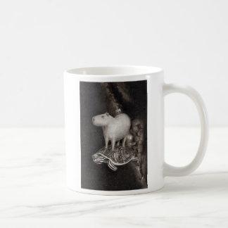 Capybara and Terrapin flying through space mug