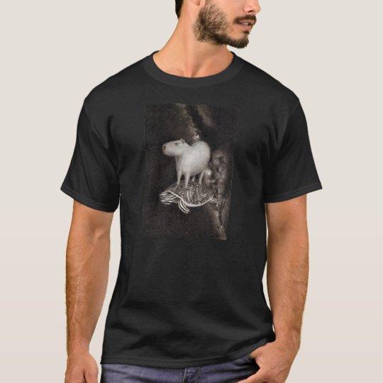 Capybara and Terrapin flying through space t-shirt