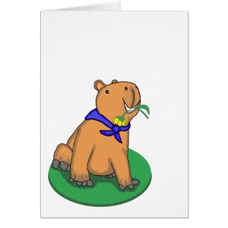 Capybara holding flower greeting card, blank card