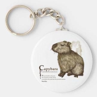 capybara - sepia basic round button key ring
