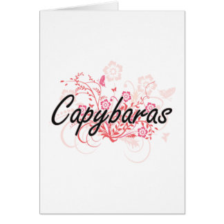 Capybaras with flowers background greeting card