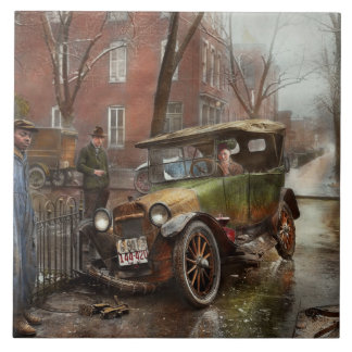 Car Accident - Watch for ice 1921 Large Square Tile