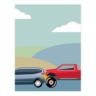 Car crash rear ended vehicle Vector Postcard