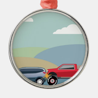 Car crash rear ended vehicle Vector Silver-Colored Round Decoration