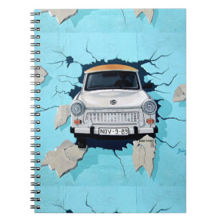 Car Crashing Through Wall Street Art Graffiti Note Books