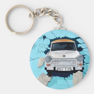 Car crosses a wall key ring