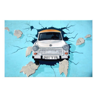 Car crosses a wall stationery
