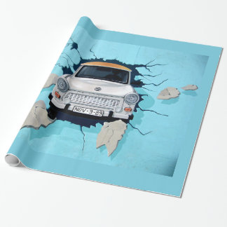 Car crosses a wall wrapping paper