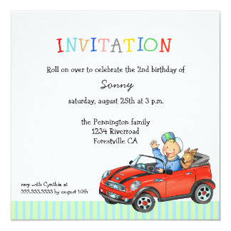 "Car dog driver boy's birthday party invitation 5.25"" square invitation card"