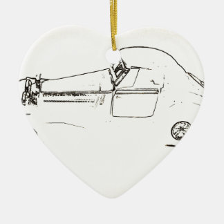 Car Drawing Ceramic Heart Decoration