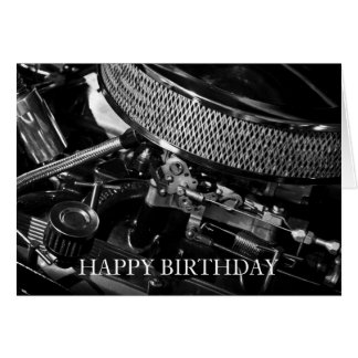 Car Engine Happy Birthday Card