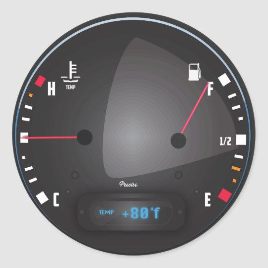 Car fuel and Temperature dashboard Dial Classic Round