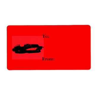 Car Gift Tag Red Shipping Label