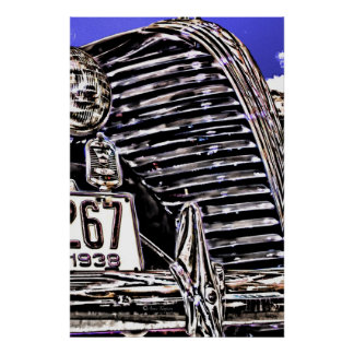Car Grill and Headlights Poster
