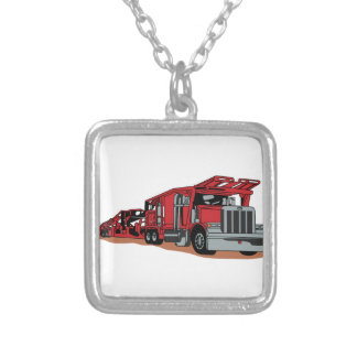 Car Hauler Silver Plated Necklace
