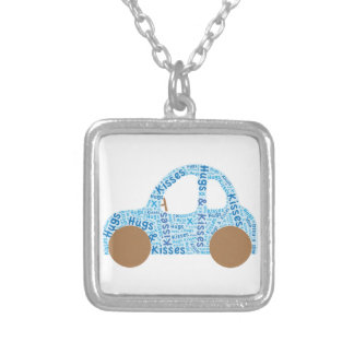 Car Hugs and Kisses Silver Plated Necklace